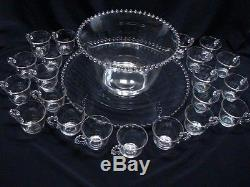 Vintage Imperial Glass Candlewick Punch Bowl Set With Underplate/Tray & 21 Cups