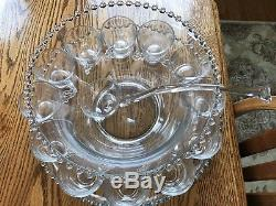 Vintage Imperial Glass Candlewick Punch Bowl Set with Underplate 12 Cups & Ladle