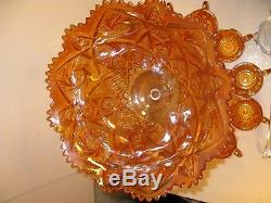 Vintage Imperial Glass Carnival Glass Punch Bowl Set Base & 12 Cups Marigold