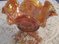 Vintage Imperial Glass Marigold Hobstar Punch Bowl 8 Pcs