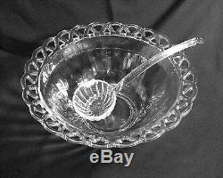 Vintage Imperial Glass Open Lace Edge Punch Bowl 12 Cups & Ladle Sears 1940's