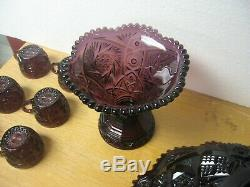 Vintage Imperial Glass Whirling Star Amethyst Punch Bowl Set 6 Cups