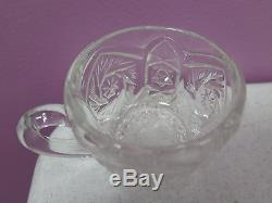 Vintage Imperial Glass Whirling Star Clear Punch Bowl Set 12 Cups + Glass Ladle
