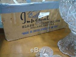Vintage Imperial Glass Whirling Star Clear Punch Bowl Set 15 pc Complete in Box