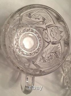 Vintage Imperial Glass Whirling Star Punch Bowl Set With 12 Cups & Ladle Clear