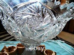 Vintage Imperial Whirling Star Hobstar, Cut Glass 15 pc Punch Bowl Set, NOS