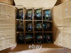 Vintage Indiana Blue Iridescent Carnival Glass Grape Punch Bowl Set no ladle
