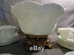 Vintage Indiana Colony Milk Glass harvest grape leaf Punch Bowl 22 piece Set