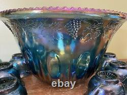 Vintage Indiana Glass Blue Carnival Glass Grape Harvest Punch Bowl Set with11 Cups