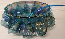 Vintage Indiana Glass Harvest Grape Blue Purple Carnival Punch Bowl Set 12 Cups+