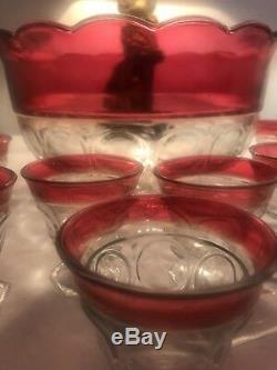 Vintage Indiana Glass Lexington/Thumbprint/ Ruby Flash 13 Piece Punch Bowl Set