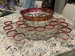 Vintage Indiana Glass Ruby Whitehall Punch Bowl 20 Footed Cups PICK UP ONLY