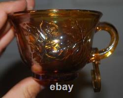 Vintage Indiana Grape Harvest Iridescent Marigold Carnival Glass Punch bowl set
