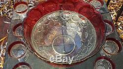 Vintage Indiana Lexington Thumbprint 18 Piece Punch Bowl Set Ruby Flash Band