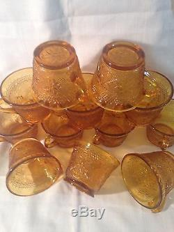 Vintage Indiana Sandwich Amber Tiara Punch Bowl/12 cups/1 ladle for Fall Sales