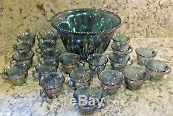 Vintage Indiana glass Iridescent BLUE CARNIVAL Punch Bowl 20 Cups Ladle