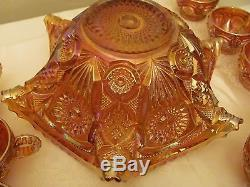 Vintage Iridescent Amber Carnival Glass Punch Bowl & Stand 12 Cups 14 Piece Set