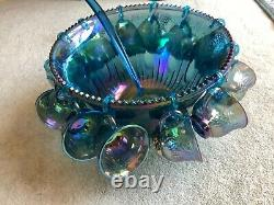 Vintage Iridescent Blue Carnival Glass Small Punch bowl, 12cups, Grapes