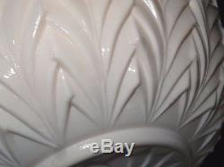 Vintage Jeanette shell Pastel Pink Milk Glass Punch Bowl 17 Cups Ladle Pedestal