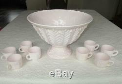 Vintage Jeannette Pastel Shell Pink Milk Glass Punch Bowl, Base, And 8 Cups