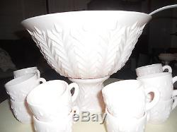 Vintage Jeannette Shell Pink Punch Bowl with Stand, Ladle, and 12 Cups