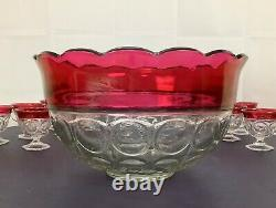 Vintage Kings Crown Ruby Punch Bowl Set by Indiana Glass With 12 Footed Cups