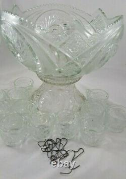 Vintage L E Smith Aztec 24 pc Punch Bowl Set with Base 12 Cups 10 Metal Hangers