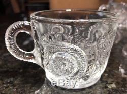 Vintage L. E. Smith Colony Glass 15pc Pinwheel & Stars Punchbowl & Platter Set
