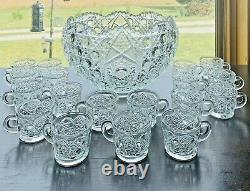 Vintage L. E. Smith Crystal Scalloped Daisy Hobstar & Button Punch Bowl & 18 Cups