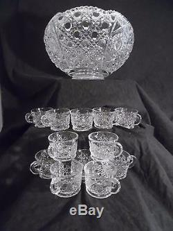 Vintage L. E. Smith Cut Glass/Crystal Punch Bowl & Cups Set,'Daisies & Buttons