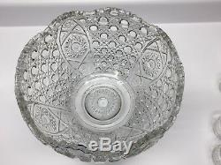 Vintage L E Smith Daisy Button Clear Glass Punch Bowl 12 x 9 with 17 Footed Cups