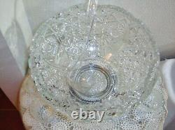 Vintage L. E. Smith Daisy and Button Punch Bowl Set with Metal Stand and 18 Cups