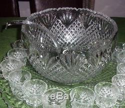 Vintage L. E. Smith Glass Co. 21 Pc. Punch Bowl Set Pineapple Design Original Box