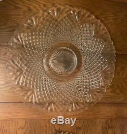 Vintage L. E. Smith Glass Co. Large Punch Bowl, Platter, 36 cups, Ladle
