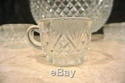 Vintage L. E. Smith Glass Co. Punch Bowl Set Pineapple Design with 17 Cups