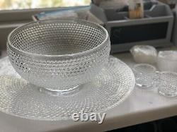 Vintage L. E. Smith Glass Company Punch Bowl with 12 glasses NEW