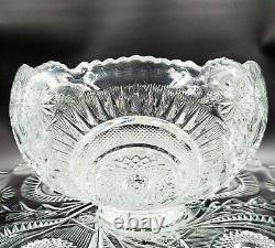 Vintage L E Smith Glass Pinwheel & Star Slewed Horseshoe Punch Bowl Set