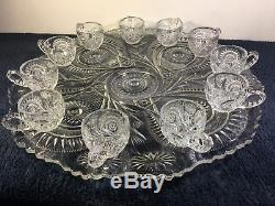 Vintage L. E. Smith Glass Slewed Horseshoe Underplate and 11 Cups for Punch Bowl