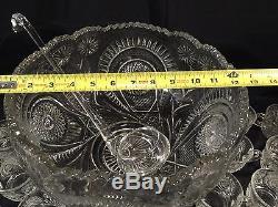 Vintage L. E. Smith Pinwheel & Star Slewed Horseshoe 20 Piece Punchbowl Set WithBox