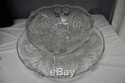 Vintage L E Smith Punch Bowl Set Pinwheels & Stars NO CUPS (L2602)