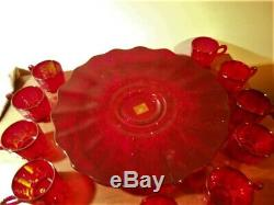 Vintage L. G. Wright Glass Red Paneled Grape Punch Bowl Set With 10 Punch Cups
