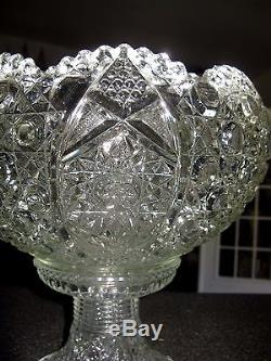 Vintage LE Smith Button & Daisy Punch Bowl With Glass Stand