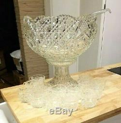 Vintage LE Smith Daisy Hob Star Patterned Glass Punch Bowl Set Stand Ladle Cups