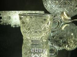 Vintage LE Smith Glass DAISY AND BUTTON 14-pc Punch Bowl Set
