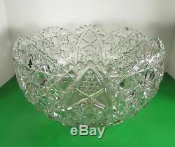 Vintage LE Smith Glass DAISY AND BUTTON 14-pc Punch Bowl Set with Metal Stand