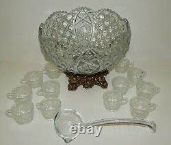 Vintage LE Smith Glass Daisy & Button Punch Bowl Set with Metal Base, Cups & Ladle