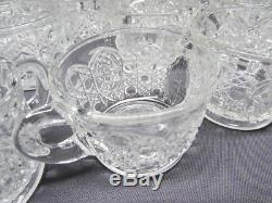 Vintage LE Smith Glass Daisy and Button Punch Bowl Ladle Metal Base 22 Cups