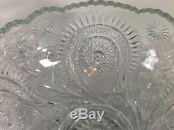 Vintage LE Smith Glass Pinwheel Punch Bowl Underplate & Cups Set
