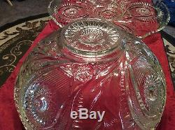 Vintage LE Smith Glass Pinwheel & Stars 2 Pc. Punch Bowl & Underplate Set