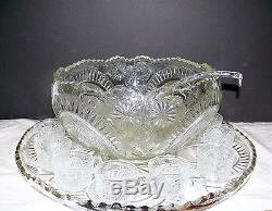 Vintage LE Smith Glass Pinwheel & Stars Punch Bowl Underplate & Cups & Ladle Set
